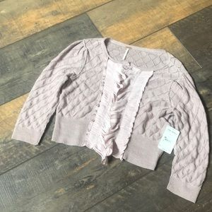 NWT $128 Free People Mauve Ruffle Crop 3/4 Sweater